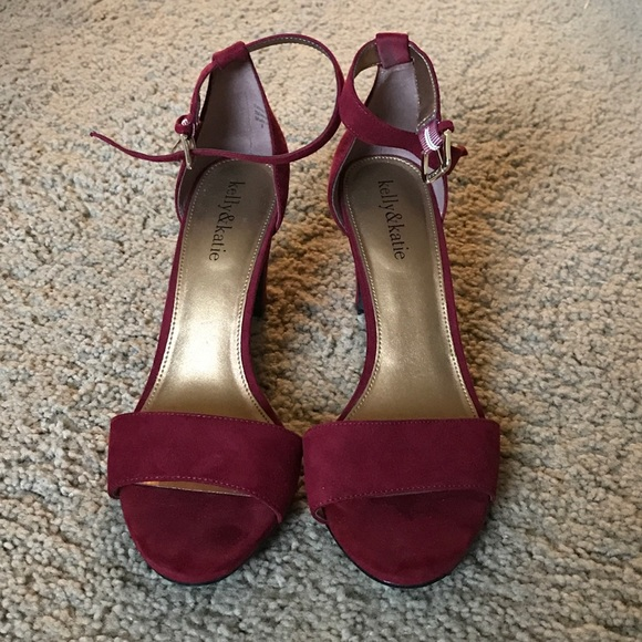 4fbd094e6065 Kelly   Katie Shoes - Kelly   Katie one strap deep red short heels